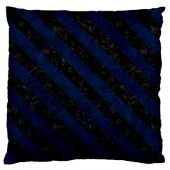 Stripes3 Black Marble & Blue Grunge (r) Large Flano Cushion Case (two Sides) by trendistuff