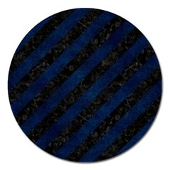Stripes3 Black Marble & Blue Grunge Magnet 5  (round) by trendistuff