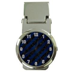 Stripes3 Black Marble & Blue Grunge Money Clip Watch by trendistuff