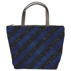 Stripes3 Black Marble & Blue Grunge Bucket Bag by trendistuff