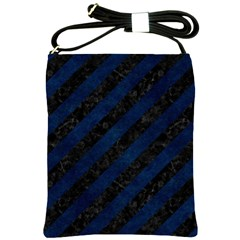 Stripes3 Black Marble & Blue Grunge Shoulder Sling Bag by trendistuff