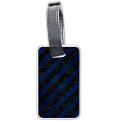 Stripes3 Black Marble & Blue Grunge Luggage Tag (two Sides) by trendistuff
