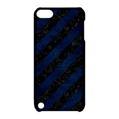 Stripes3 Black Marble & Blue Grunge Apple Ipod Touch 5 Hardshell Case With Stand by trendistuff