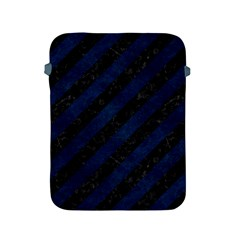 Stripes3 Black Marble & Blue Grunge Apple Ipad 2/3/4 Protective Soft Case by trendistuff