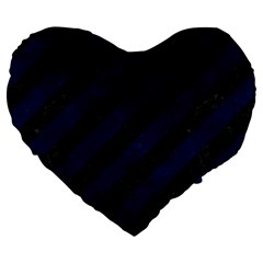 Stripes3 Black Marble & Blue Grunge Large 19  Premium Flano Heart Shape Cushion by trendistuff