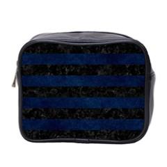 Stripes2 Black Marble & Blue Grunge Mini Toiletries Bag (two Sides) by trendistuff