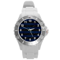 Stripes2 Black Marble & Blue Grunge Round Plastic Sport Watch (l) by trendistuff
