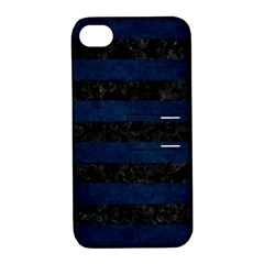 Stripes2 Black Marble & Blue Grunge Apple Iphone 4/4s Hardshell Case With Stand by trendistuff