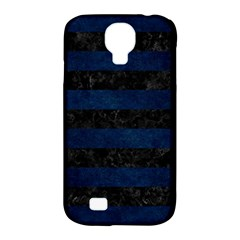 Stripes2 Black Marble & Blue Grunge Samsung Galaxy S4 Classic Hardshell Case (pc+silicone) by trendistuff