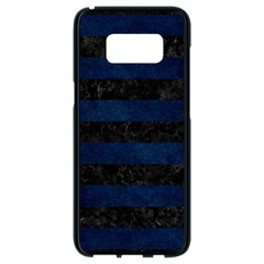 Stripes2 Black Marble & Blue Grunge Samsung Galaxy S8 Black Seamless Case by trendistuff