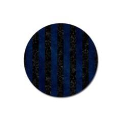 Stripes1 Black Marble & Blue Grunge Magnet 3  (round) by trendistuff