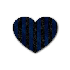 Stripes1 Black Marble & Blue Grunge Rubber Heart Coaster (4 Pack) by trendistuff