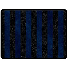 Stripes1 Black Marble & Blue Grunge Double Sided Fleece Blanket (large) by trendistuff