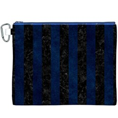 Stripes1 Black Marble & Blue Grunge Canvas Cosmetic Bag (xxxl) by trendistuff