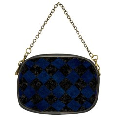 Square2 Black Marble & Blue Grunge Chain Purse (one Side) by trendistuff