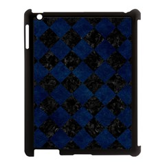 Square2 Black Marble & Blue Grunge Apple Ipad 3/4 Case (black) by trendistuff