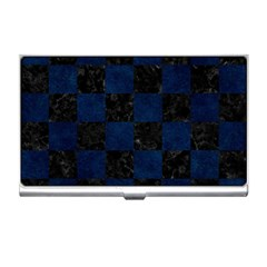Square1 Black Marble & Blue Grunge Business Card Holder by trendistuff