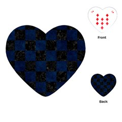 Square1 Black Marble & Blue Grunge Playing Cards (heart) by trendistuff