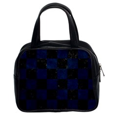 Square1 Black Marble & Blue Grunge Classic Handbag (two Sides) by trendistuff