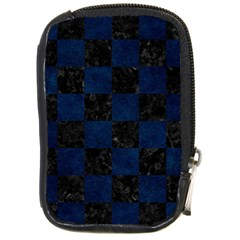 Square1 Black Marble & Blue Grunge Compact Camera Leather Case by trendistuff