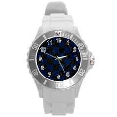 Square1 Black Marble & Blue Grunge Round Plastic Sport Watch (l) by trendistuff