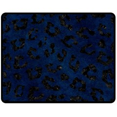 Skin5 Black Marble & Blue Grunge Double Sided Fleece Blanket (medium) by trendistuff