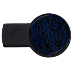 Skin4 Black Marble & Blue Grunge (r) Usb Flash Drive Round (2 Gb) by trendistuff