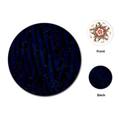 Skin4 Black Marble & Blue Grunge (r) Playing Cards (round) by trendistuff