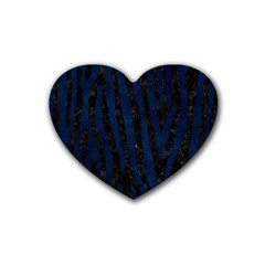 Skin4 Black Marble & Blue Grunge (r) Rubber Heart Coaster (4 Pack) by trendistuff
