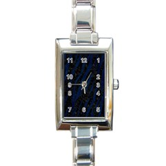 Skin3 Black Marble & Blue Grunge Rectangle Italian Charm Watch by trendistuff