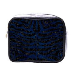 Skin2 Black Marble & Blue Grunge Mini Toiletries Bag (one Side) by trendistuff