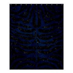 Skin2 Black Marble & Blue Grunge Shower Curtain 60  X 72  (medium) by trendistuff