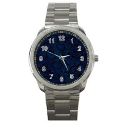 Skin1 Black Marble & Blue Grunge Sport Metal Watch by trendistuff