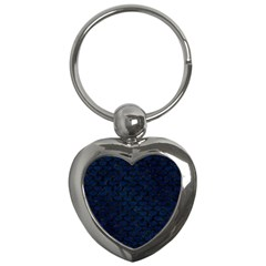 Scales3 Black Marble & Blue Grunge (r) Key Chain (heart) by trendistuff