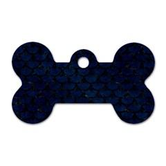 Scales3 Black Marble & Blue Grunge (r) Dog Tag Bone (one Side) by trendistuff
