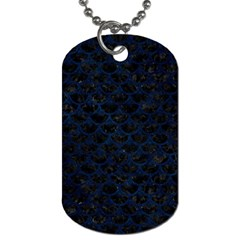Scales3 Black Marble & Blue Grunge Dog Tag (one Side) by trendistuff