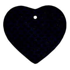 Scales3 Black Marble & Blue Grunge Heart Ornament (two Sides) by trendistuff