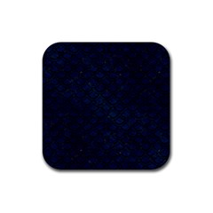 Scales2 Black Marble & Blue Grunge (r) Rubber Square Coaster (4 Pack) by trendistuff