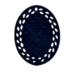 Scales2 Black Marble & Blue Grunge (r) Ornament (oval Filigree) by trendistuff