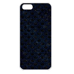 Scales2 Black Marble & Blue Grunge Apple Iphone 5 Seamless Case (white) by trendistuff