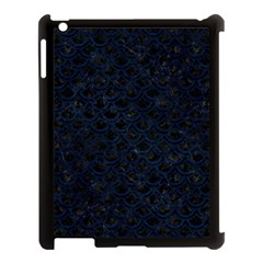 Scales2 Black Marble & Blue Grunge Apple Ipad 3/4 Case (black) by trendistuff
