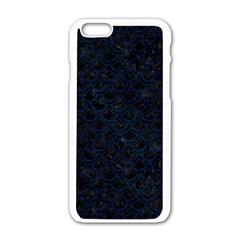 Scales2 Black Marble & Blue Grunge Apple Iphone 6/6s White Enamel Case by trendistuff