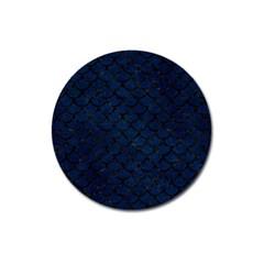 Scales1 Black Marble & Blue Grunge (r) Magnet 3  (round) by trendistuff