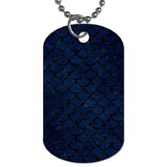 Scales1 Black Marble & Blue Grunge (r) Dog Tag (one Side) by trendistuff