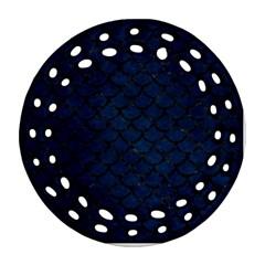 Scales1 Black Marble & Blue Grunge (r) Ornament (round Filigree) by trendistuff