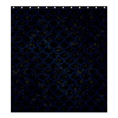 Scales1 Black Marble & Blue Grunge Shower Curtain 66  X 72  (large) by trendistuff