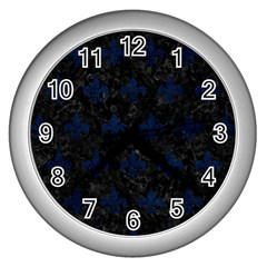 Royal1 Black Marble & Blue Grunge (r) Wall Clock (silver) by trendistuff