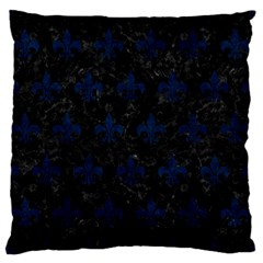 Royal1 Black Marble & Blue Grunge (r) Large Flano Cushion Case (one Side) by trendistuff