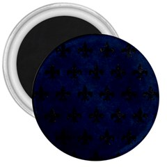 Royal1 Black Marble & Blue Grunge 3  Magnet by trendistuff