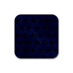 Royal1 Black Marble & Blue Grunge Rubber Coaster (square) by trendistuff